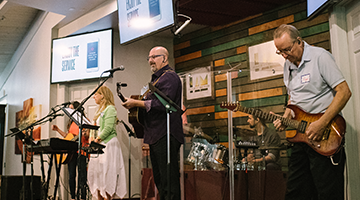 Band playing music in Church service